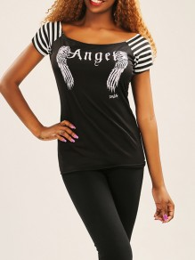 Black Angel Wings Print Striped Rundhals Fashion Casual New Fashion Neueste Frauen T-Shirt