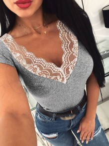 Grey Patchwork Lace Bodycon V-neck Short Sleeve Sweet T-Shirt