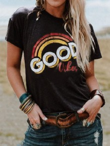 "Black ""GOOD VIBES"" Print Rainbow Round Neck Short Sleeve Fashion T-Shirt"