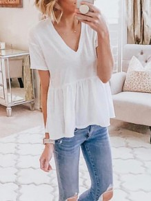 White Ruffle V-neck Short Sleeve Peplum Fashion T-Shirt