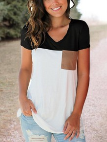 Black-White Patchwork Pockets V-neck Going out Casual Women Summer T-Shirt
