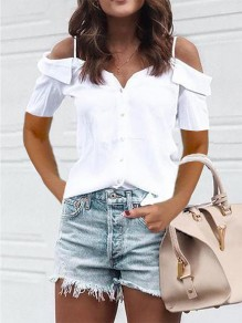 White Cut Out Fashion Sweet Comfy Going out V-neck T-Shirt