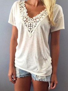 White Patchwork Lace Bodycon Comfy V-neck Short Sleeve Going out T-Shirt