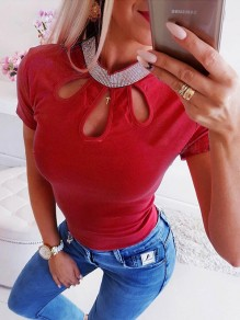 Red Patchwork Rhinestone Cut Out Bodycon Fashion T-Shirt
