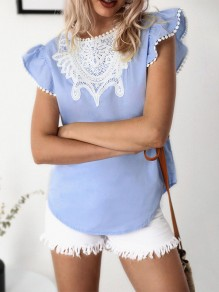 Blue Patchwork Tassel Print Short Sleeve Fashion T-Shirt