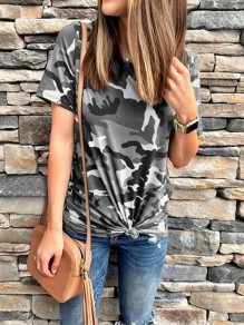 Grey Camouflage Round Neck Short Sleeve Fashion Going out T-Shirt