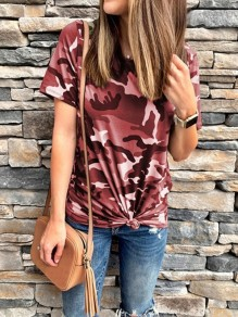 Burgundy Camouflage Round Neck Short Sleeve Fashion Going out T-Shirt