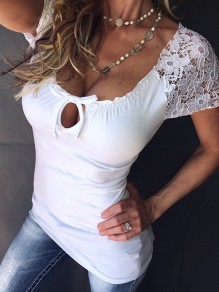 White Patchwork Lace Cut Out Bodycon Lace Up Going out T-Shirt
