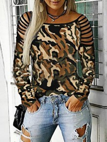 Army Green Camouflage Cut Out Off Shoulder Long Sleeve Casual T-Shirt