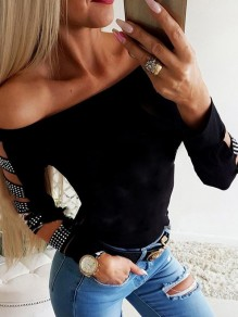 Black Patchwork Rhinestone Cut Out Bodycon Off Shoulder Fashion T-Shirt