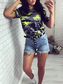 Neon Yellow Camouflage Print Round Neck Short Sleeve Fashion Casual T-Shirt