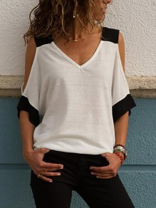 White Cut Out Bodycon Comfy Going out T-Shirt