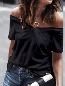 Black Pockets Bodycon Off Shoulder Comfy Going out Fashion T-Shirt