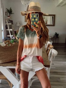 T-shirt scollo A V color block senza colletto bianca