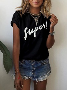 Black Patchwork U-neck Short Sleeve Fashion T-Shirt