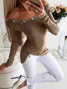 Khaki Beading Going out Comfy Fashion Boat Neck T-Shirt
