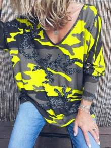 T-shirt col en V manches longues casual camouflage jaune