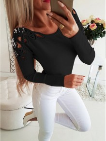 Black Print Going out Comfy Sweet Fashion Boat Neck T-Shirt