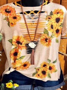 Pink Sunflower Print Cut Out Short Sleeve Double Slit Casual T-shirt