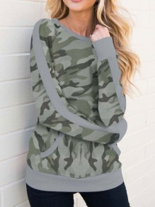 Camouflage Leopard Print Round Neck Long Sleeve Casual T-Shirt
