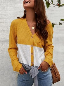 Yellow Patchwork Single Breasted V-neck Long Sleeve Fashion T-Shirt