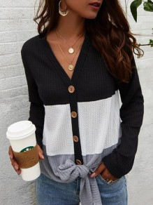 Black Patchwork Single Breasted V-neck Long Sleeve Fashion T-Shirt