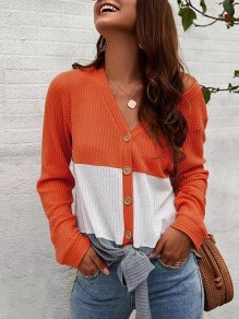 Orange Patchwork Single Breasted V-neck Long Sleeve Fashion T-Shirt