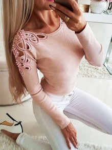 Pink Print Going out Comfy Sweet Fashion Boat Neck T-Shirt