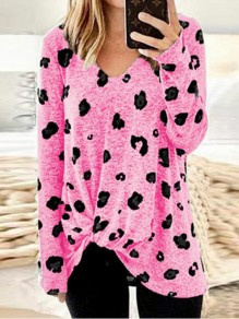 Pink Leopard Print Irregular Bowknot V-neck Long Sleeve Casual T-Shirt