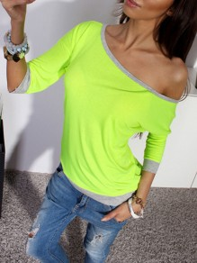 Green Going out Comfy Sweet Fashion Boat Neck T-Shirt