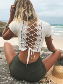 White Patchwork Strappy Cut Out Beachwear V-neck Short Sleeve Elegant T-Shirt