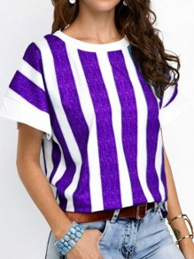 Purple Striped Pattern Vintage Comfy Round Neck Fashion T-Shirt