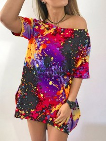 Black Red Colorful Painting Pattern One Shoulder Short Sleeve Casual T-shirt