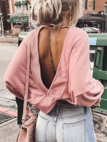 Pink Irregular Backless Round Neck Long Sleeve Fashion T-Shirt