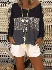 Black Patchwork Pattern Bodycon Round Neck Long Sleeve Going out T-Shirt
