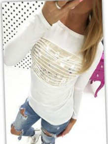 White Flora Pattern Tiered Bodycon Round Neck Going out T-Shirt