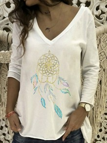 White Floral Pattern Bodycon Comfy V-neck Long Sleeve Going out T-Shirt