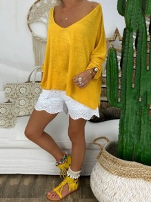 Yellow Bodycon Comfy Long Sleeve Round Neck Going out T-Shirt