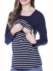 Black Striped Cut Out Print U-neck Long Sleeve Fashion T-Shirt