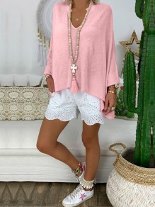 Pink Irregular Bodycon Comfy V-neck Long Sleeve Going out T-Shirt