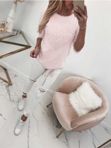Pink Print Drawstring Bodycon Comfy Round Neck Long Sleeve Sweet T-Shirt