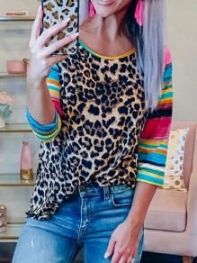 Yellow Leopard Rainbow Striped Print Asymmetric Shoulder 3/4 Sleeve Fashion Casual T-Shirt