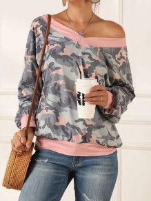 Green Camouflage Asymmetric Shoulder Long Sleeve Fashion T-Shirt