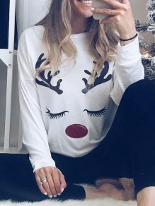 White Deer Print Round Neck Long Sleeve Fashion T-Shirt