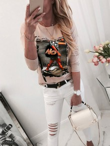 Khaki Floral Ttrendy Bodycon Comfy Round Neck Going out T-Shirt
