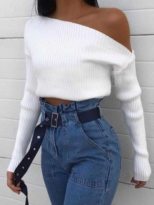 White Asymmetric Shoulder Bodycon Comfy Ttrendy Going out T-Shirt