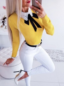 Yellow Patchwork Lace Bow Elegant Ttrendy Comfy Going out T-Shirt