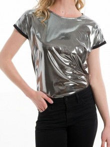 Silver Sparkly Round Neck Short Sleeve Oversize Fashion T-Shirt