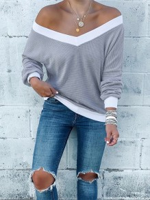 Grey Going out Comfy Sweet Fashion T-Shirt