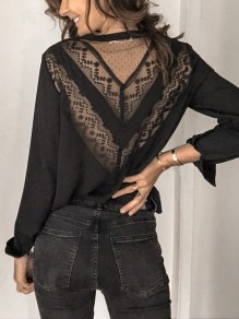 Black Patchwork Lace Cut Out Backless V-neck Long Sleeve T-Shirt
